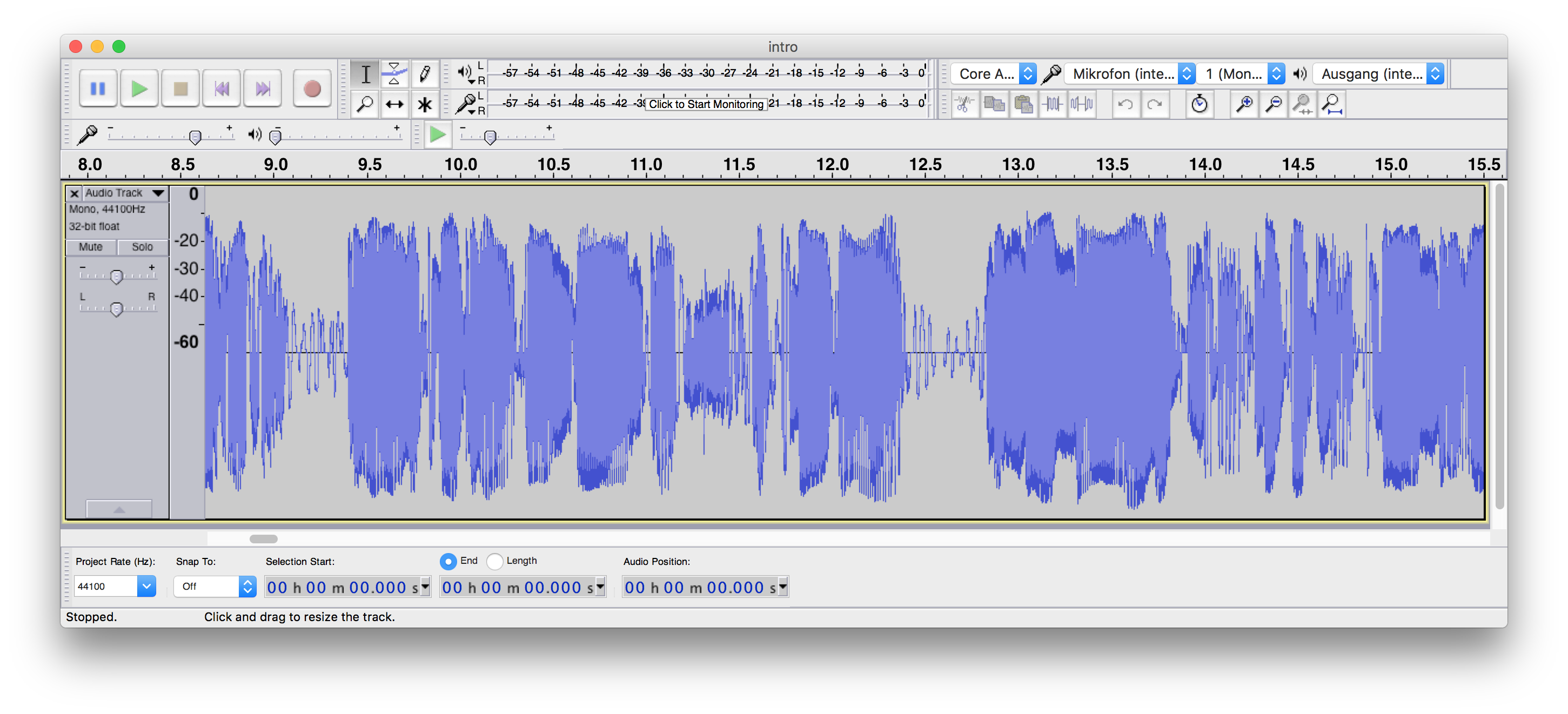 Editing audio in Audacity DAW