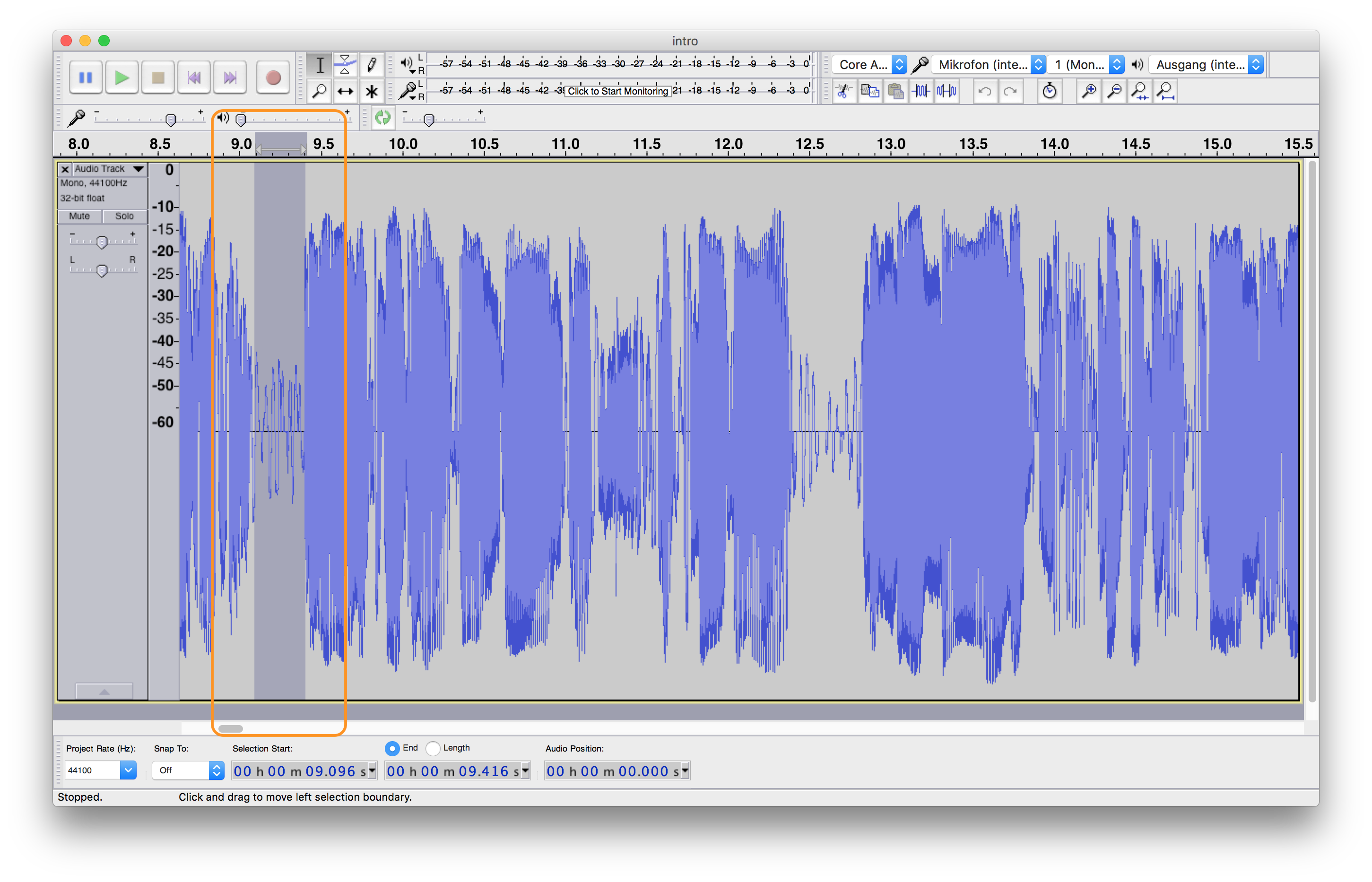 Finding a maximum volume level for applying Audacity's Noise Gate