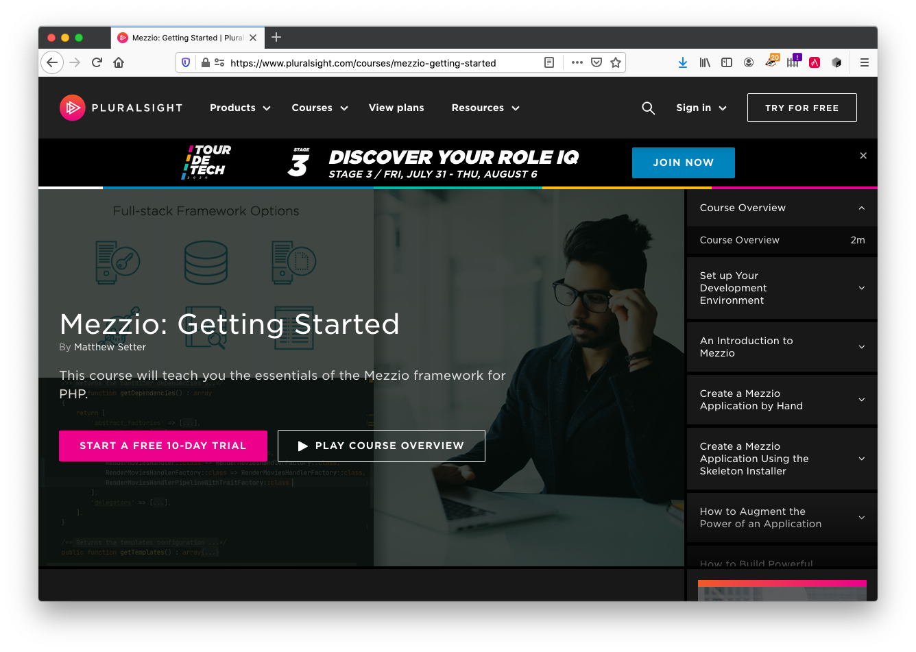 Mezzio: Getting Started, on Pluralsight, by Matthew Setter
