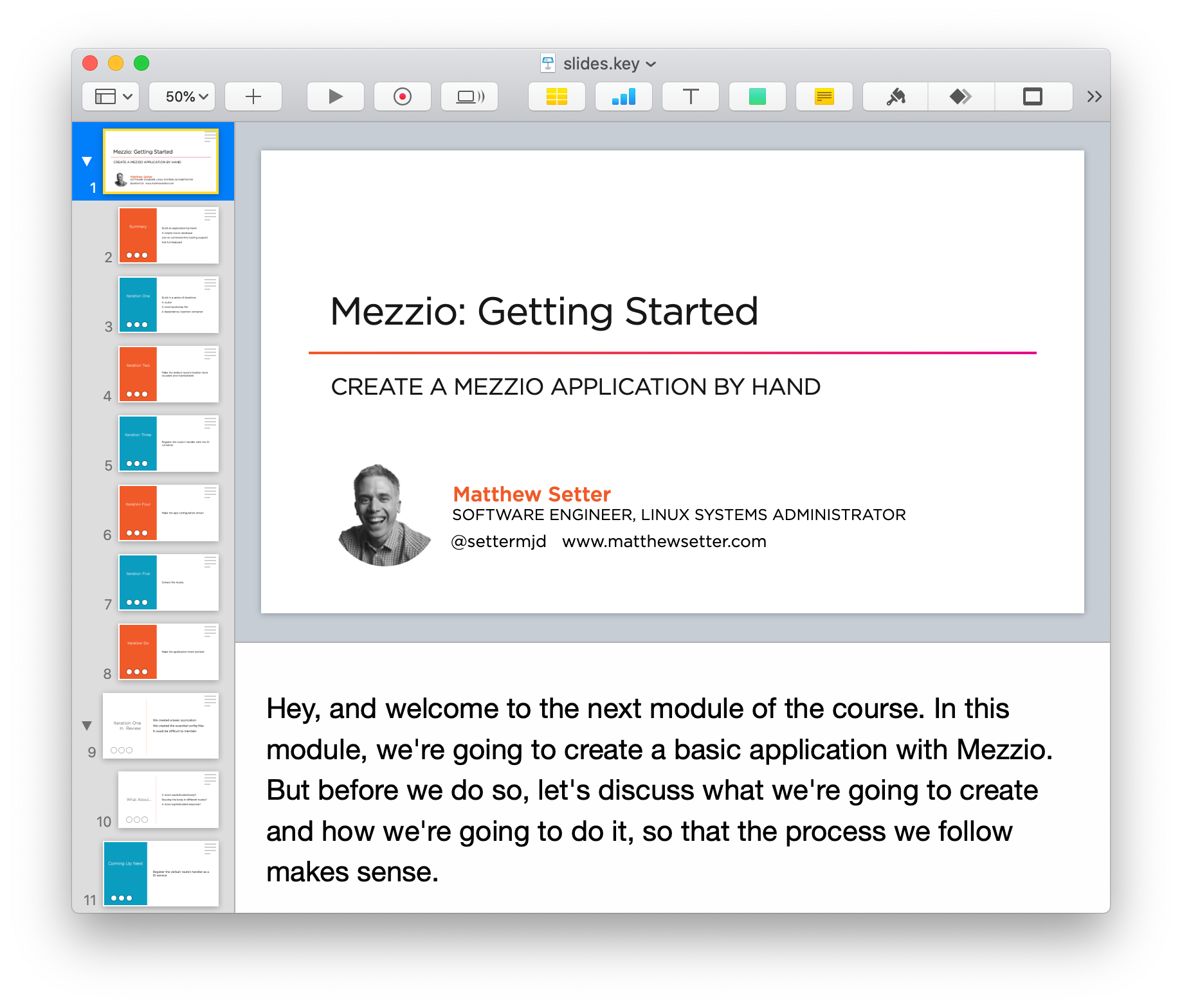 Creating the slide deck for Mezzio: Getting Started in Apple Keynote