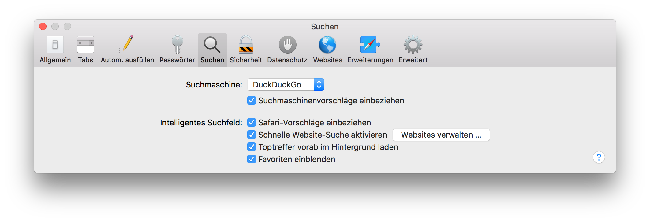 Changing Safari's default search engine to DuckDuckGo