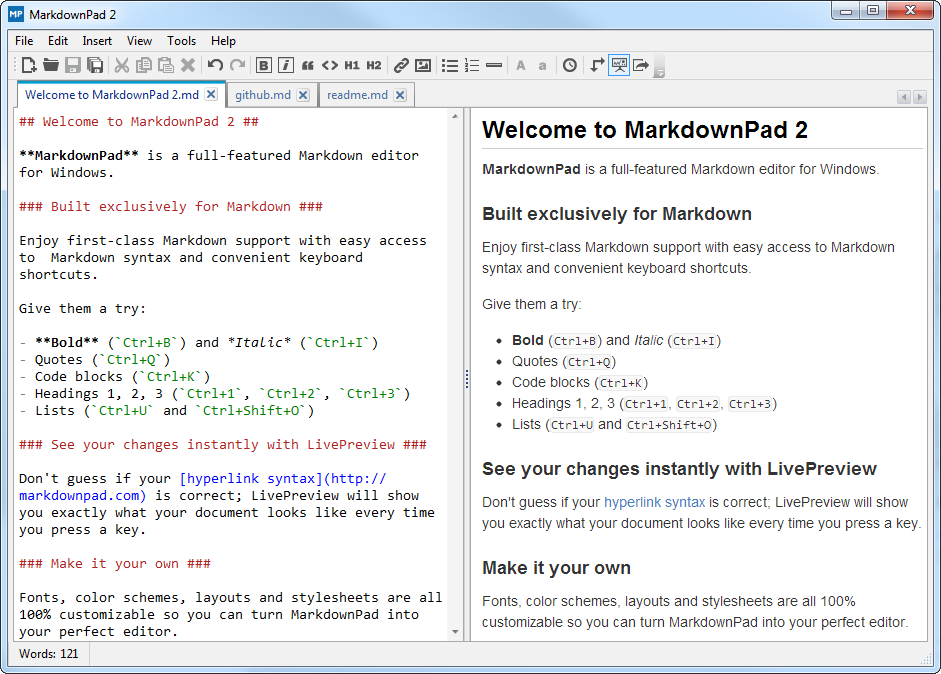 Sample markdown file showing HTML preview