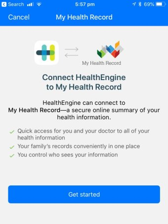 HealthEngine app request for consent to access My Health Record account
