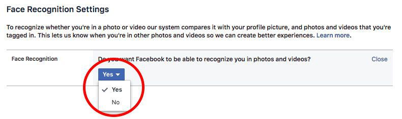 Opting out of Facebook's Facial Recognition Feature