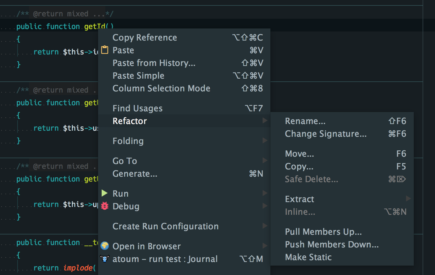 Refactoring with PhpStorm: Context-menu refactor of a function's name