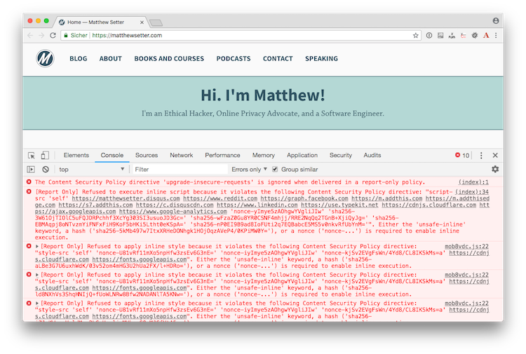 Content Security Policy (CSP) rendered in Chrome's Developer Tools