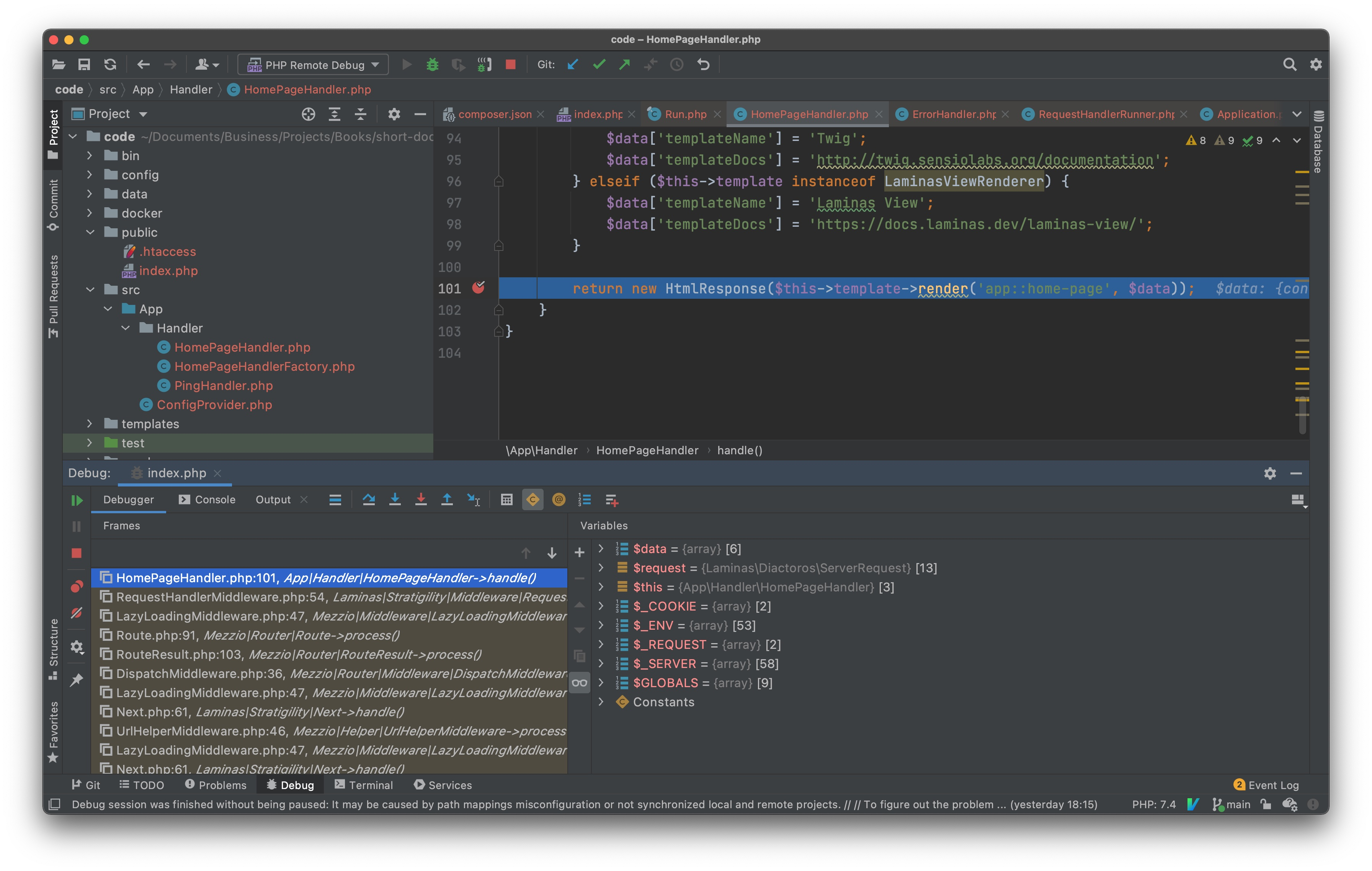 Stopped on a breakpoint in PhpStorm